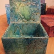 boîte azur noel2015 190x190 - Cartonnage, media mixtes pour boîtes et carnets de Noël